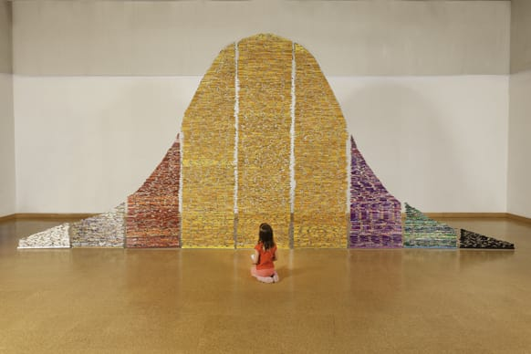 Constructed by Harriete Estel Berman this art installation called 'Pick Up Your Pencils' consists of pencils hanging like a shimmering curtain that moves with the slightest breath of air.