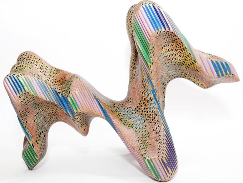 Lionel Bawden constructs sculptures from hundreds of coloured pencils fused into a fractured mass.