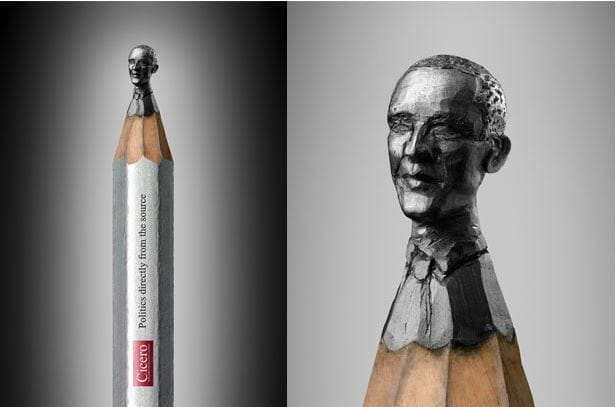 Pencilheads is an ad campaign by Augusto Moreno dos Anjos created in collaboration with German artist Ragna Reusch Klinkenberg-, who carved the faces of the world's most famous political leaders on the tips of pencils.