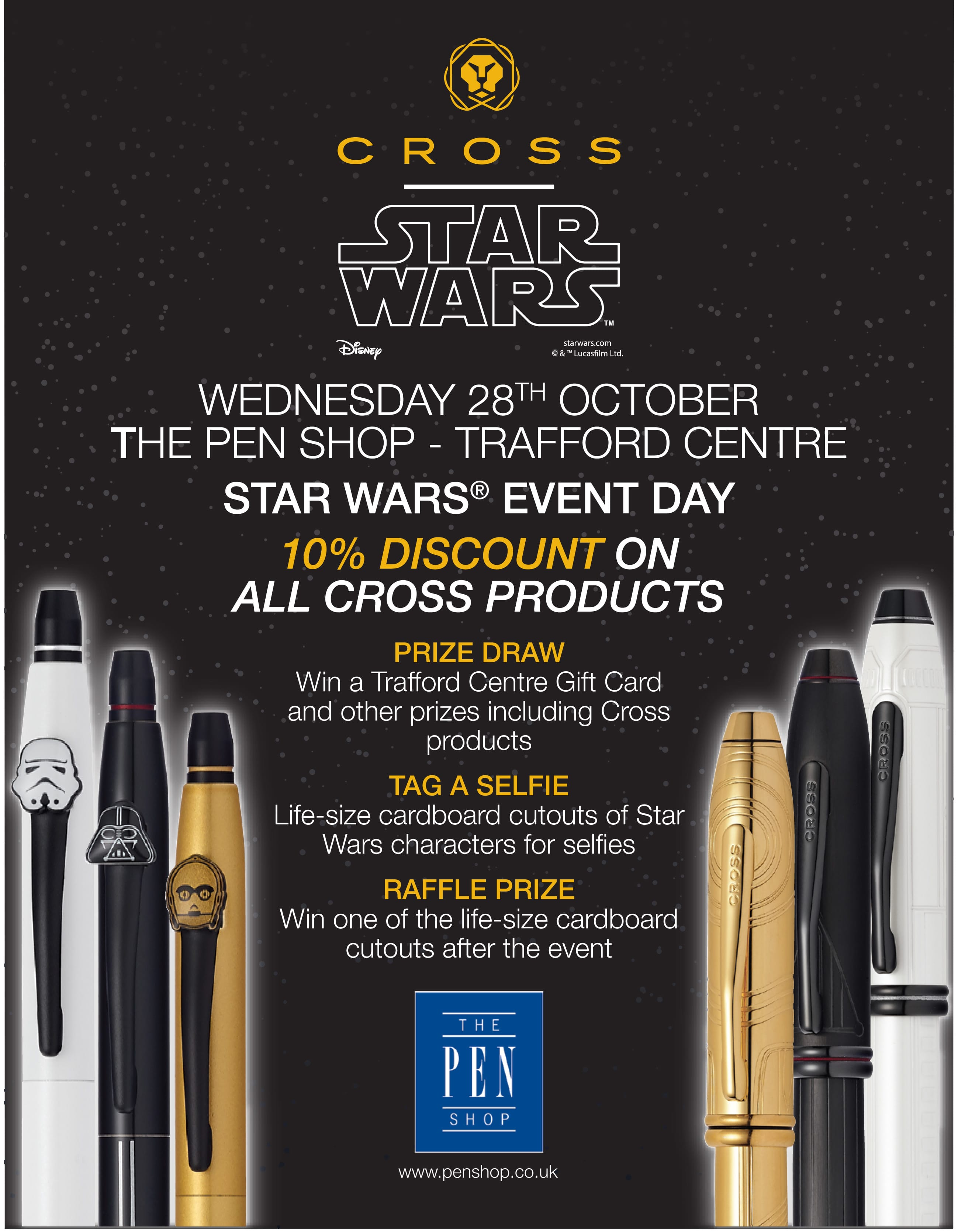 On Wednesday 28th October The Pen Shop Trafford Centre will host a special Star Wars event day with special offers and prizes.
